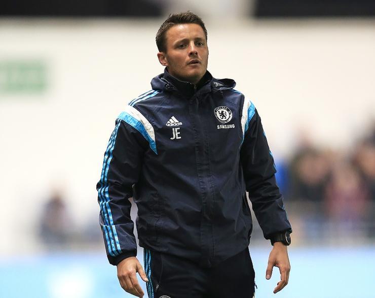 Chelsea Under 18 manager Joe Edwards on the touchline